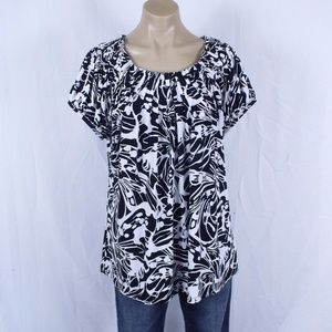 Style & Co Black and White Print Top